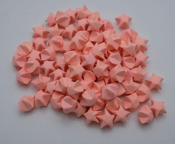 100 Origami Lucky Star Light Neon Pink NO.E , Jar , Gift , Wedding , Home