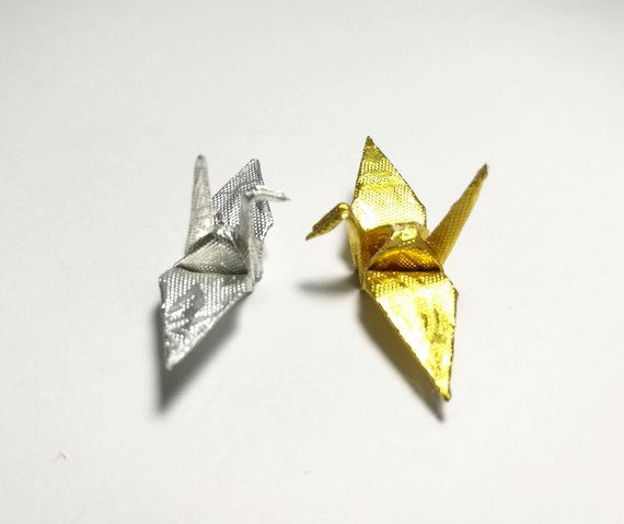 1-100 Origami Paper Crane in Gold and Silver