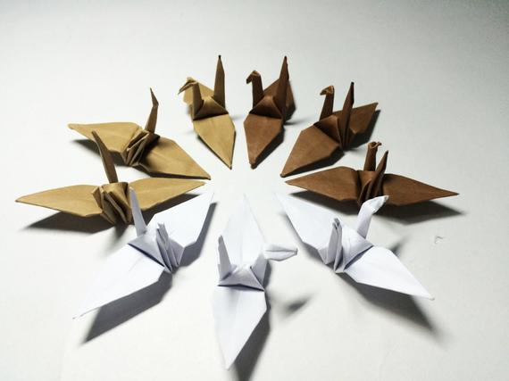 100 Origami Paper Origami Cranes Origami Paper Cranes Brown Tone 7.5 cm 3 inches Japanese Wedding