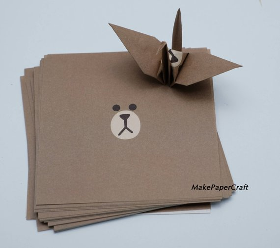1.Origami Paper Sheets Brown Bear Paper Pack Size 9 x 9 cm 48-50 sheets Origami Paper Crane
