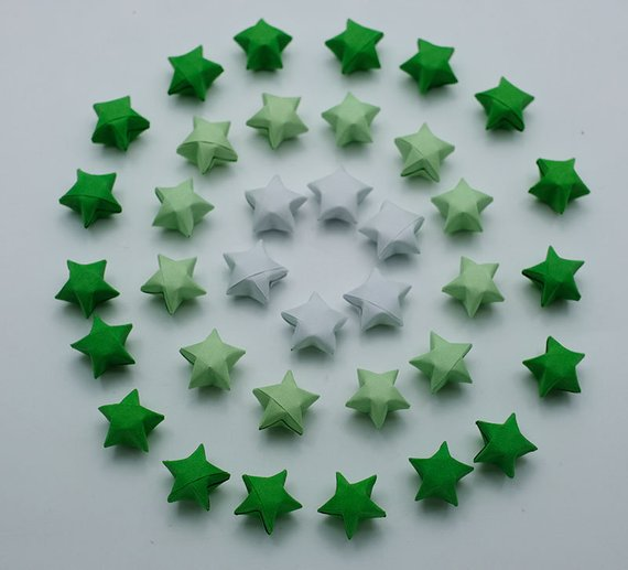100 Origami Lucky Stars Green Tone , Jar , Gift , Wedding , Home Lucky Stars