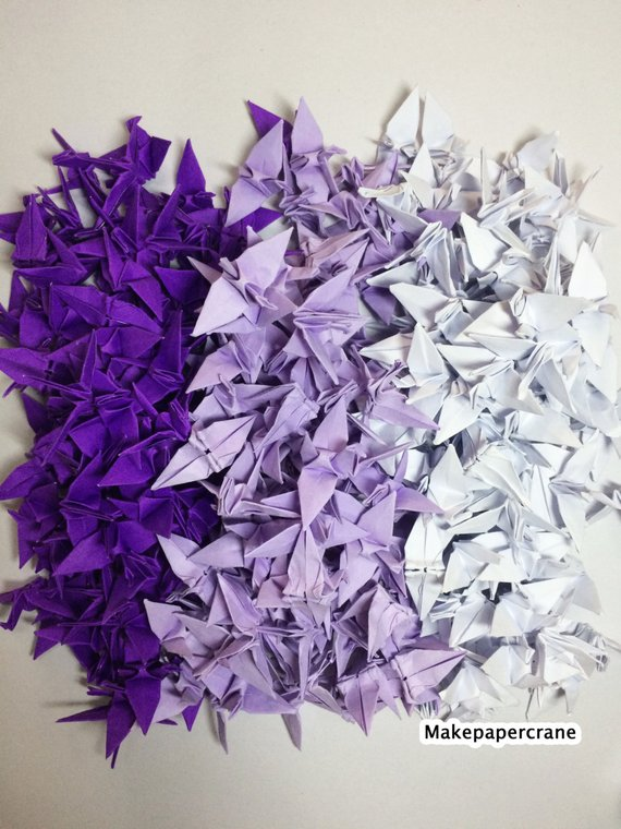 2-100 Origami crane paper 1.5 Purple Tone Origami paper Crane Wedding Event Decoration