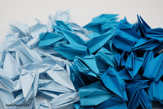 100 Origami Cranes Blue Tone 7.5 cm 3 inches Japanese for Wedding Gift, decorate , backdrop wedding