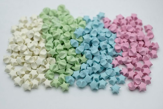100 Origami Lucky Stars Pastel Tone , Jar , Gift , Wedding , Home Lucky Stars