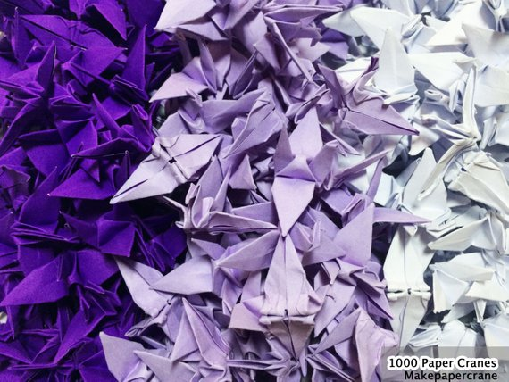 3-100 Origami crane paper 1.5 Purple Tone Origami paper Crane Wedding Event Decoration