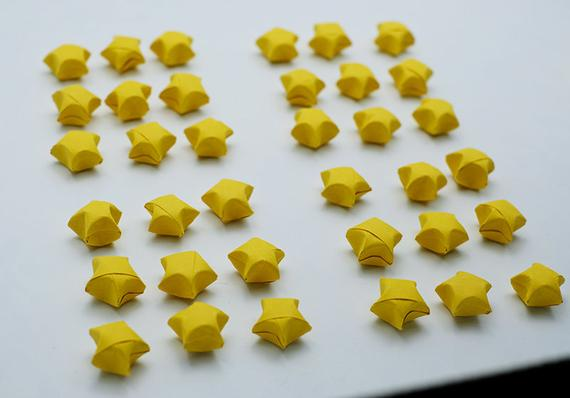 100 Origami Lucky Stars Dark Yellow NO.4 , Jar , Gift , Wedding , Home