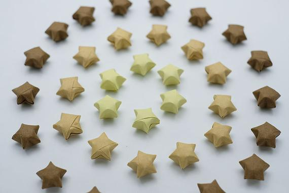 100 Origami Lucky Stars Brown Tone Set 8 NO. A,27,28 , Jar , Gift , Wedding , Home