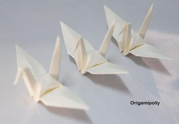 100 Origami paper cranes Ivory 3 inch Origami cranes Ivory Finished Origami paper Crane Christmas Wedding Decoration