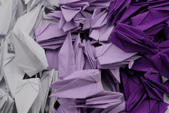 100 Origami Crane Paper Cranes Purple Tone 7.5 cm 3 inches Japanese for Wedding Gift, decorate , backdrop wedding