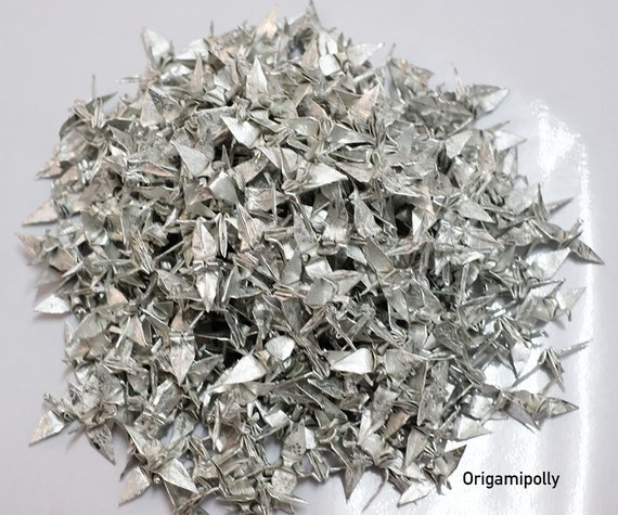 7-100 Origami Paper Crane Silver With Rose Pattern 1.5 inch
