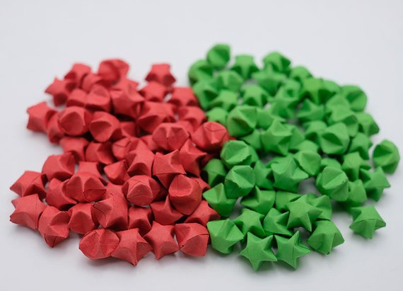 100 Origami Lucky Stars Red and Green Set 7 NO 24,17 , Jar , Gift , Wedding , Home