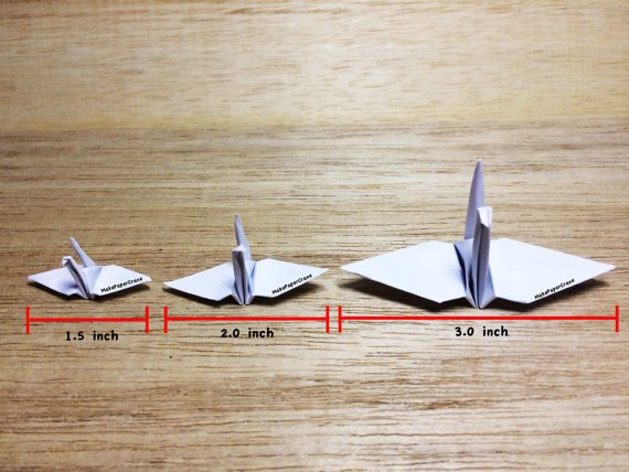 9-100 Origami Paper Crane Silver With Rose Pattern 1.5 inch
