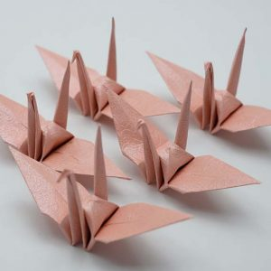 Origami Crane in Pink With Rose-9
