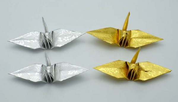 Origami Crane in Gold and Sliver-11