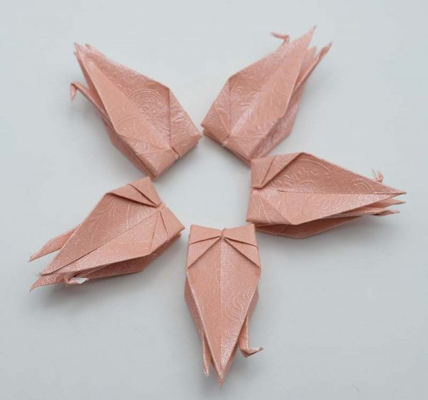 Origami Crane in Pink With Rose-13