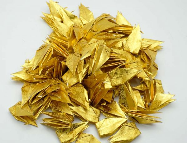 Origami Crane in Gold With Rose-11