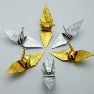 Origami Crane in Gold and Sliver-6