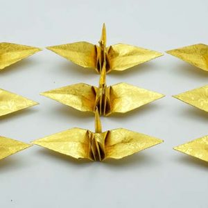 Origami Crane in Gold With Rose-9