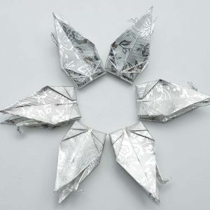 Origami Crane in Sliver With Rose -8