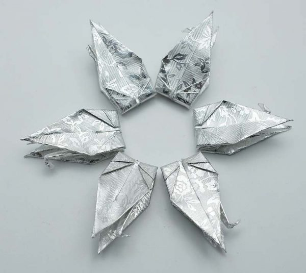Origami Crane in Sliver With Rose -9