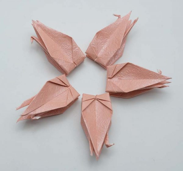 Origami Crane in Pink With Rose-12