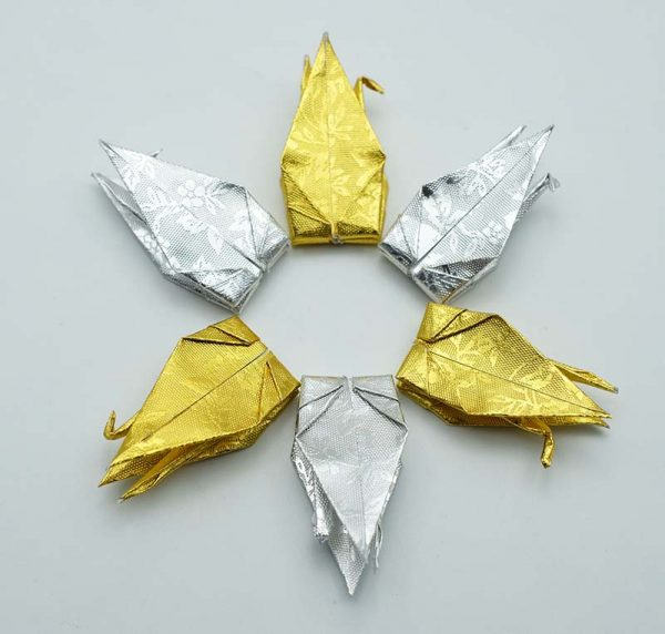 Origami Crane in Gold and Sliver-7