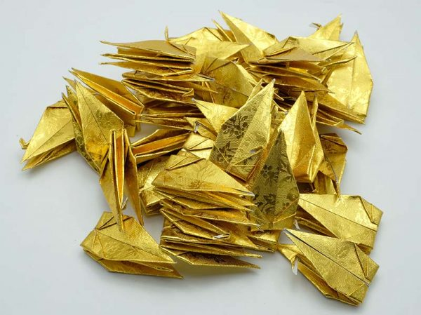 Origami Crane in Gold With Rose-12