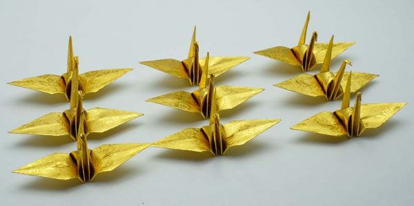 Origami Crane in Gold With Rose-7