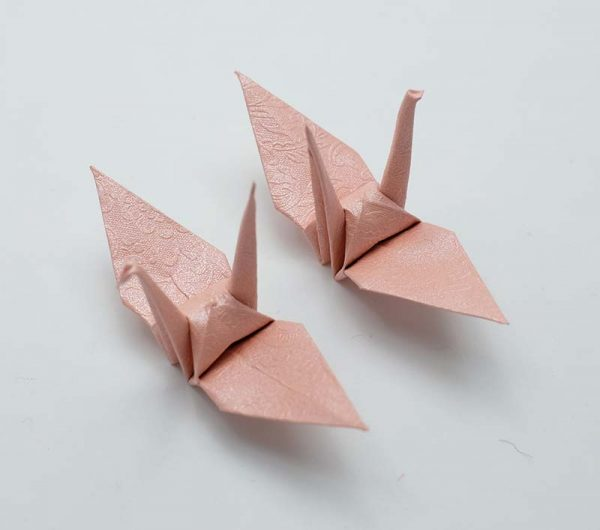 Origami Crane in Pink With Rose-2