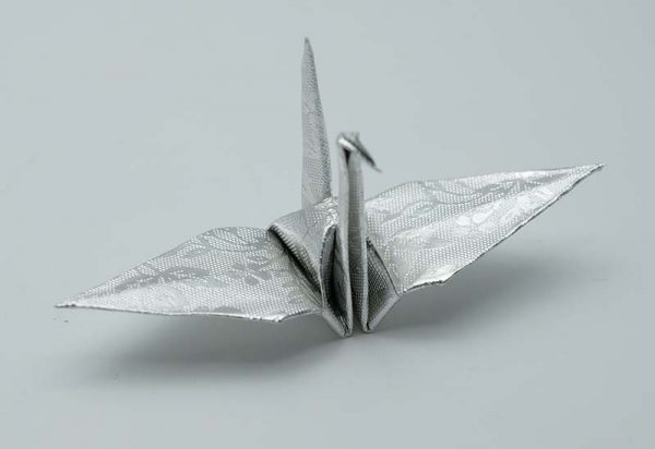 Origami Crane in Sliver With Rose -2