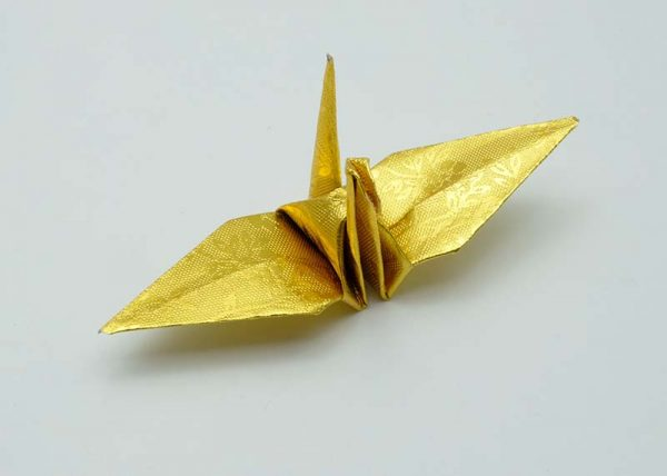 Origami Crane in Gold With Rose-3