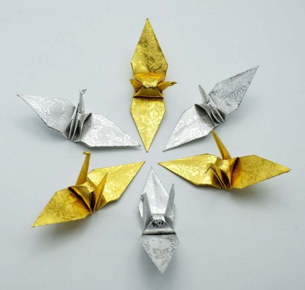 Origami Crane in Gold and Sliver-3