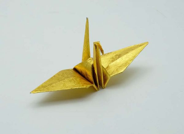 Origami Crane in Gold With Rose-4