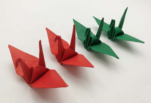 """Origami Crane Red and Green 3"""" inch Origami Paper Origami Cranes Origami Paper Cranes"""