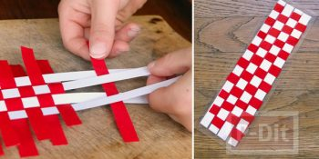 Teach to make red and white Scottish bookmarks