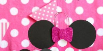 Decorated paper hats, paper bags, decorative ears, Minnie Mouse